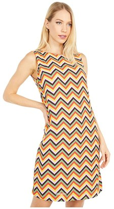 M Missoni Sleeveless Zigzag Print Shift Dress (Yellow Multi) Women's Clothing
