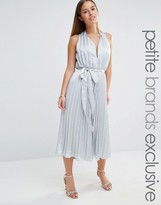 True Decadence Petite Plunge Front Pleated Culotte Jumpsuit With Belt
