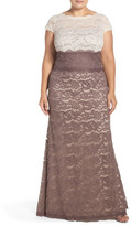 Adrianna Papell Colorblock Lace Gown