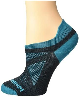 Wrightsock Women's Specific Coolmesh II Tab (Black/Turquoise) Women's Crew Cut Socks Shoes