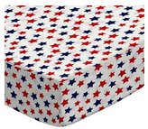Camilla And Marc SheetWorld Fitted Pack N Play Sheet - Primary Patriotic Stars On White Woven - Made In USA - 29.5 inches x 42 inches (74.9 cm x 106.7 cm)