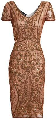 Linzi Jywal London Embellished SHORT EMBELLISHED GOLD PARTY DRES