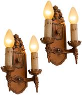 Rejuvenation Pair of Heraldic Romance Revival Candle Sconces c1928