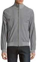 Brioni Plaid High-Neck Leather Jacket