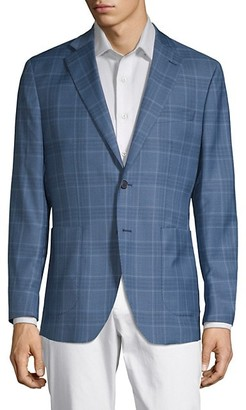 Saks Fifth Avenue Made In Italy Plaid Notch Lapel Jacket