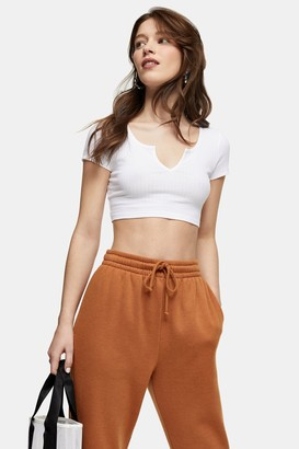 Topshop Womens White Ribbed Notch Crop T-Shirt - White