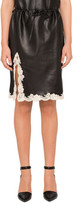 Alexander Wang Leather Skirt With Lace Hem & Draw Cord