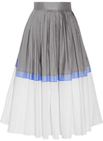 Vika Gazinskaya Pleated Color-block Cotton-poplin Midi Skirt - Light gray