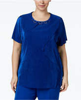 Alfred Dunner Plus Size High Roller Collection Micro-Pleated Embellished Tunic