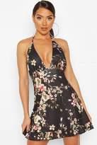boohoo Floral Print Halter Neck Mini Dress