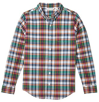 Janie and Jack Plaid Button-Up Top (Toddler/Little Kids/Big Kids) (Multi) Boy's Clothing