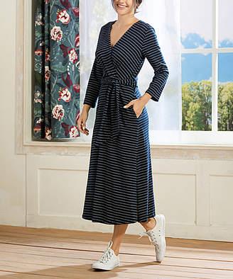 Simple By Suzanne Betro Simple by Suzanne Betro Women's Casual Dresses 101NAVY/WHITE - Navy & White Tie-Waist Surplice Midi Dress - Women & Plus