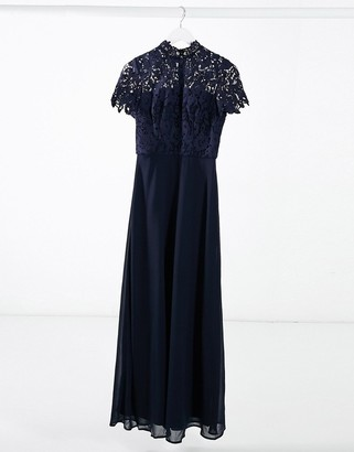 Chi Chi London high neck lace maxi dress in navy