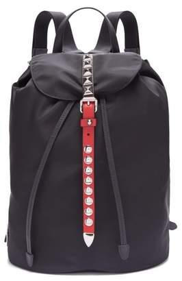 Prada New Vela Studded Nylon Backpack - Womens - Black Red