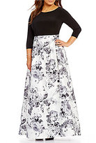 Adrianna Papell Plus Jersey Printed Mikado Ballgown