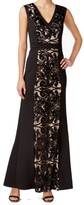 Calvin Klein Sequined Mesh-Accented Gown