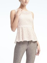 Banana Republic Embroidered Floral Peplum Top