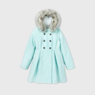 Cat & Jack Girls' Faux Fur Trim Wool Jacket - Cat & JackTM