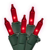 Asstd National Brand Set Of 100 Red Commercial Grade Mini Christmas Lights 5.5 Spacing with Green Wire
