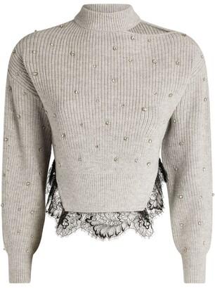 Self-Portrait Crystal-Embellished Sweater