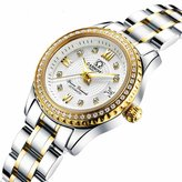 Carnival Women's Automatic Mechanical Bezel Inlay Rhinestones Stainless Steel Band Dress Chic Watch