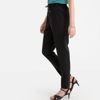 "Anne Weyburn Stretch Twill Tie-Waist Trousers, Length 28"""