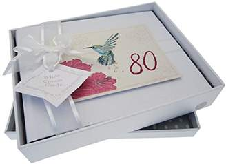 WHITE COTTON CARDS Small Humming Bird Handmade 80th Birthday Photo Album, White