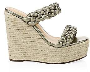 Schutz Women's Dyandre Braided Leather Espadrille Wedge Sandals