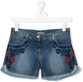Ermanno Scervino teen embroidered denim shorts