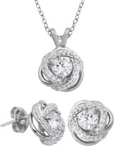 JCPenney FINE JEWELRY DiamonArt Cubic Zirconia Love Knot Pendant Necklace & Earring Set