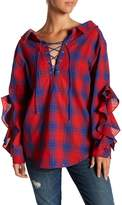 Flying Tomato Front Lace-Up Plaid Blouse