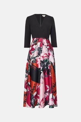 Coast Solid Wrap Bodice Printed Skirt Dress