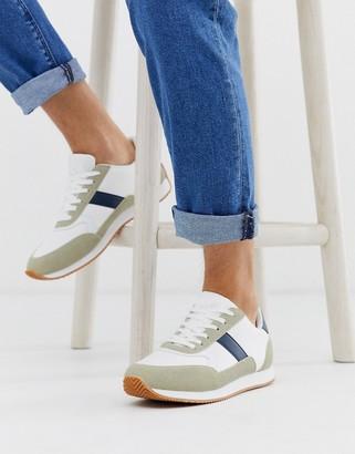 Asos DESIGN retro sneakers in stone with gum sole
