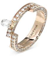 Dauphin 'Disruptive' pavé diamond 18k rose gold two tier ring