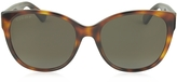 Gucci GG0097S 006 Havana Acetate Cat Eye Women's Polarized Sunglasses