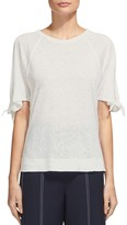 Whistles Tie-Cuff Cold-Shoulder Tee