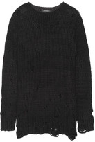 R 13 Distressed Knitted Sweater - Black