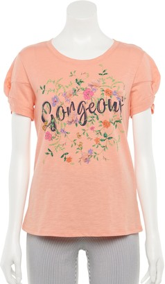 Elle Women's Gathered-Sleeve Graphic Tee