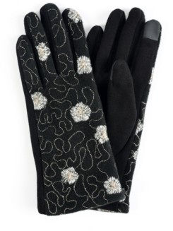 MARCUS ADLER Women's Embroidered Flower Jersey Touchscreen Glove