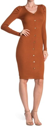 Planet Gold Ribbed Puff Sleeve Bodycon Midi Dress