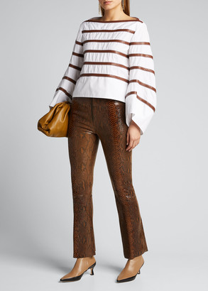 Sprwmn Front-Zip Ankle Flare Leather Pants