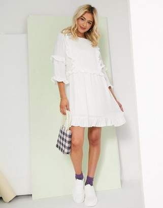 In The Style x Lorna Luxe frill detail skater dress in white