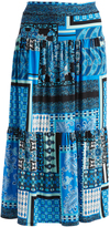Glam Blue & Black Abstract Tiered Maxi Skirt - Plus