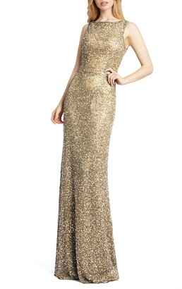 Mac Duggal Sequin Latticed Halter Gown