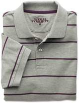 Charles Tyrwhitt Grey and Purple Stripe Pique Cotton Polo Size XS