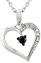 FINE JEWELRY 1/8 CT. T.W. White and Color-Enhanced Black Diamond Heart Pendant Necklace