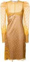 Nina Ricci puffy sleeves semi-sheer dress - women - Polyamide - 36