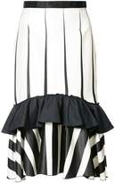 Tome striped frill-trim skirt