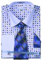 Sunrise Outlet Mens Multi Color Polka Dot Cotton Shirt Tie Cufflink Set - 16.5 34-35