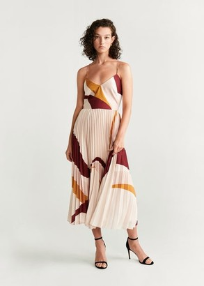 MANGO Pleated midi dress nude - 4 - Women